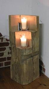 Dekoartikel garten holz  Details zu Holz Säule Rustical Windlicht Landhaus Kerze Dekoration ...