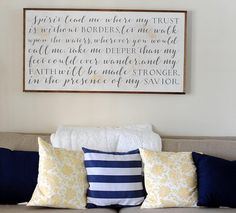 spirit lead me where my trust is without boarders script and print framed wood art