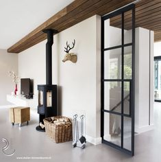 Interior doors made of steel, fireplace, Scandinavian – toptrendpin. Scandinavian Doors, Hospitality Design, Little Houses, Living Room Interior, Renting A House, Room Inspiration, Ideal Home, Sweet Home, New Homes