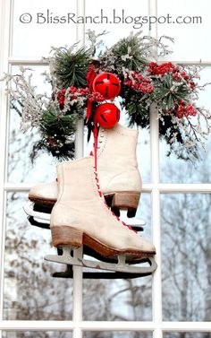 bliss ranch vintage ice skate door wreath outdoor christmas white christmas christmas wreaths - Ice Skate Christmas Decoration