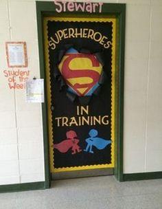Teacher with the right attitude -- Superhero theme on the classroom door to built self-esteem of the students! Superhero Classroom Theme, Classroom Displays, School Classroom, Classroom Themes, Superhero Bulletin Boards, Superhero Door Decorations Teachers, Superhero Classroom Decorations, Classroom Organisation, Superhero Party