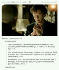 I love how Sherlock ships John and Mary as much as i do!