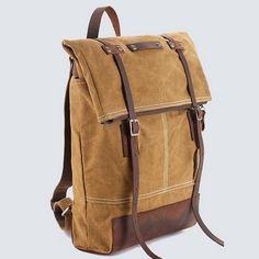 This unisex top fold rucksack was created for heavy use and is efficient, stylish and comfortable with its slim profile, and it would work great for outdoor hunter, travel, city cruiser or school.   This backpack is made of water washed 16oz military green cotton canvas, sick leather, lined with st
