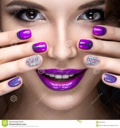 Beautiful Girl With A Bright Evening Make-up And Purple Manicure With Rhinestones. Nail Design. Beauty Face. - Download From Over 44 Million High Quality Stock Photos, Images, Vectors. Sign up for FREE today. Image: 52693423