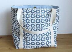 Blue geometric lined bucket bag with pockets Handmade
