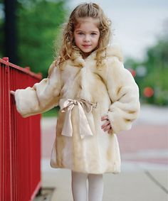 Take a look at this Champagne Faux Fur Hooded Coat - Infant, Toddler & Girls on zulily today!