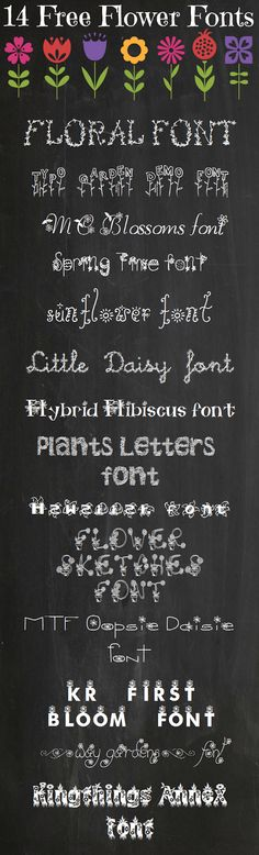 14 Fabulously Free Flower Fonts #fuentes #tipografía #fonts #free #flores #typography