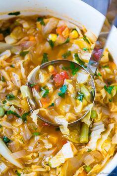 Vegetarian Cabbage Soup Recipe | ChefDeHome.com Vegetarian Cabbage Soup, Easy Cabbage Soup, Cabbage Soup Recipes, Healthy Soup Recipes, Healthy Foods To Eat, Vegetarian Recipes, Detox Recipes, Cabbage Diet, Vegan Vegetarian