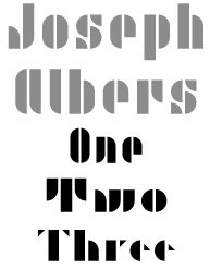 Joseph Albers modular lettering system based upon 10 basic shapes derived from a circle and a square.