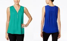 INC International Concepts Zip-Front Knit-Back Top, Only at Macy's - INC International Concepts - Women - Macy's