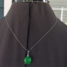 "GENUINE 925 Silver & Jade Necklace GENUINE 925 Silver & Jade Necklace.   18"" 925 silver stamped chain with jade/silver pendant.   Never worn. Jewelry Necklaces"