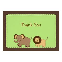 Cocoa Jungle Animal Flat Thank You Note Cards Invitation