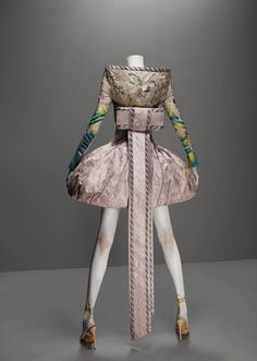 """Ensemble,"""" It's Only a Game"""", spring/summer 2005,Dress and obi-style sash of lilac and silver brocade; jacket of lilac silk faille embroidered with silk thread; top of nude synthetic net embroidered with silk thread"""