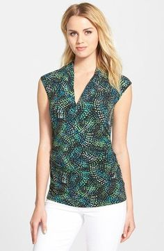 Vince+Camuto+'Island+Dashes'+Pleated+V-Neck+Top+(Regular+&+Petite)+available+at+#Nordstrom