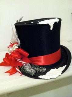 Christmas decor Victorian beaver black top hat by TatteredArts