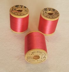 Lot of Belding Corticelli Sewing Silk Wooden Spools Thread Pink Shade Wooden Spools, Silk Thread, Shades, Sewing, Pink, Dressmaking, Couture, Stitching, Sunnies