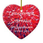 Red White Blue Heart Anniversary Christmas Ceramic Ornament #weddinginspiration #wedding #weddinginvitions #weddingideas #bride