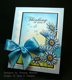 How beautiful. The bow really makes it!!  Blue Daisies copic coloring tutorial by Theresa Momber