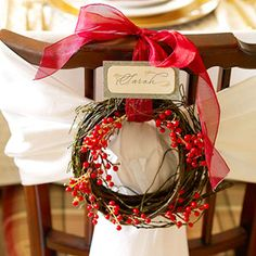 twig wreath; red berry stem; silk ribbon; name tag optional :)