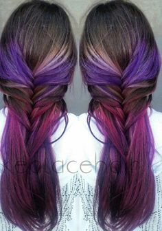 Pink and purple fishtail hairstyle