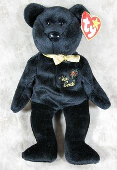 """TY Beanie Baby """"The End"""" Bear Retired 1999 With Rare Flat Tag #Ty Beanie Babies Worth, Beanie Babies Value, Rare Beanie Babies, Original Beanie Babies, Beanie Baby Bears, Ty Beanie Boos, Teddy Bear Cartoon, Teddy Bears, Ty Stuffed Animals"""