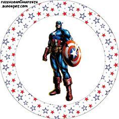 Capitão América - Kit Completo com molduras para convites, rótulos para guloseimas, lembrancinhas e imagens! - Fazendo a Nossa Festa