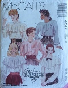 Vintage Sewing Pattern McCall's 4517 // Women's Pullover Blouse // Size 16 // UNCUT // from 1980s