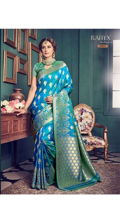 Designer Sky Blue Kanjiwaram Saree for Every Occasion, Party, Wedding,Mahendi, Sangeet
