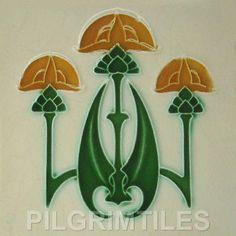Art Nouveau / Gothic Ceramic Tiles / Plaque / Fireplace
