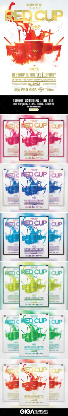 Red Cup Time | Night Party PSD Flyer Template (CS, 4.25x6, alcohol, artwork, birthday, bottle, celebration, clean, codein, Codein Syrup, codeine, cookout, cup, deejay, drink, drink party, drunk, hip hop, hookah, lifestyle, music, night, nightclub, pong, pong flyer, rap, red, red cup, Sprite Cup, syrup, trap, urban)