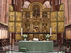 Altarpiece in Roskilde Cathedral (Domkirke) in Roskilde, Denmark.