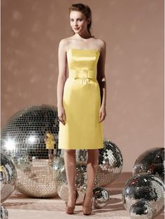 Yellow Strapless Knee Length Satin rom Dress DMBD0074