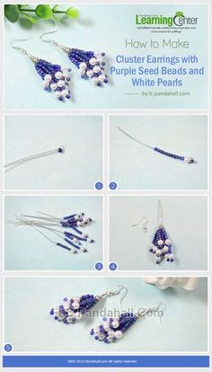 How to Make Cluster Earrings with Purple Seed Beads and White Pearls