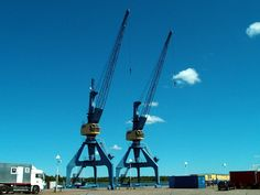 Two cranes dating back to the at the city harbour of Rostock. They are strong personalities, aren't they? 1960s, Germany, Industrial, City, Rostock, Crane Car, Sixties Fashion, Deutsch, Industrial Music
