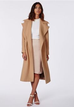 Camel waterfall coat worn with nude and white. Via #missguided. What do you think about this outfit?