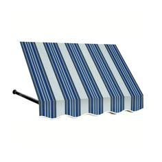 AWNTECH 30 ft. Dallas Retro Window/Entry Awning (56 in. H x 48 in. D) in Navy / White Stripe, Blue