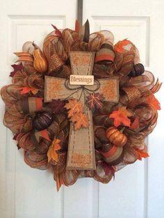Fall Blessings Cross Wreath