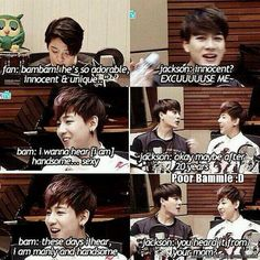 Jackson Wang pleaseeeeeeeeeeeeeeeeee!! JUST SHUT UP :D << He can't, he must roast them all XDD I love him for that -A$