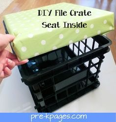 "DIY File Crate Seats (with storage) using vinyl to avoid any Pre-K ""accidents"" from seeping into the foam!"