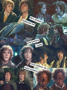 Merry and Pippin. I ACTUALLY REMEMBER THIS FROM THE BOOK! :D 10 year old me: 'Daddy that's really funny 'cos it's like teens but hobbits live longer that us!' XD I was a nerdy child...