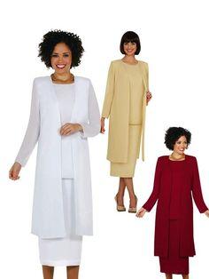 571dd1f87e4 Long Cardigan Georgette Jacket 3-pc Skirt Set. Women s Suits