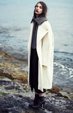 Contrast your darker neutrals with a cream-colored coat.