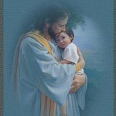 "Jesus with child...how precious.♥ ""In Thy Tender Care"" by artist...Kathy Lawrence."
