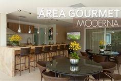 Área churrasco/gourmet moderna - com churrasqueira de vidro e bancada de mármore iluminada!