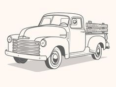 Classic Truck Coloring Pages New Truck Illustration Illustration Truck Coloring Pages, Colouring Pages, Adult Coloring Pages, Coloring Books, Vintage Trucks, Old Trucks, Chevy Trucks, Pickup Trucks, Antique Trucks