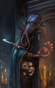 Mindflayer Illithid Rod Cloak urban City undercity underdark story by RICARDO RIOS Arte Horror, Horror Art, Fantasy Story, Fantasy Art, O Kraken, D D Races, Mind Flayer, World Mythology, Lovecraftian Horror