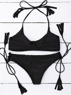 Tasselled Halter Bikini Set - BLACK M Mobile