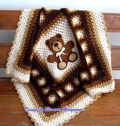 "Love Crochet: Teddy Bear blanket 39"" by 39"""