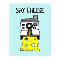 Retro Polaroid Camera  - 8 x 10 Digital Illustration Art Print - Say Cheese