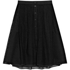 Thakoon Broderie anglaise cotton skirt (8.230 ARS) ❤ liked on Polyvore featuring skirts, bottoms, black, gonne, cotton skirts, thakoon and cotton knee length skirt